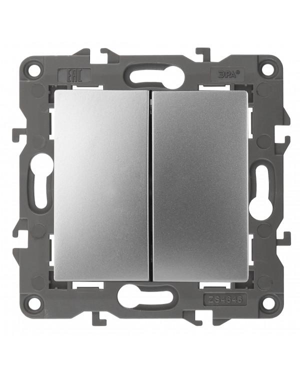 14-1104-03 ЭРА Выключатель двойной, 10АХ-250В, IP20, Эра Elegance, алюминий (10/100/3000), 14-1104-03