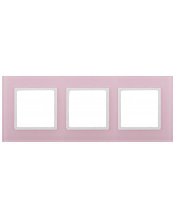 14-5103-30 ЭРА Рамка на 3 поста, стекло, Эра Elegance, розовый+бел (5/25/900)