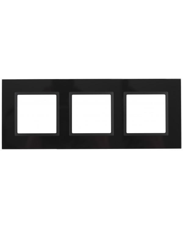 14-5103-05 ЭРА Рамка на 3 поста, стекло, Эра Elegance, чёрный+антр (5/25/900)