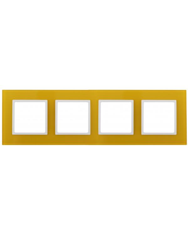 14-5104-21 ЭРА Рамка на 4 поста, стекло, Эра Elegance, жёлтый+бел (5/25/900)