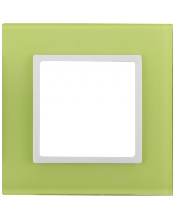 14-5101-26 ЭРА Рамка на 1 пост, стекло, Эра Elegance, лайм+бел (10/50/1800)