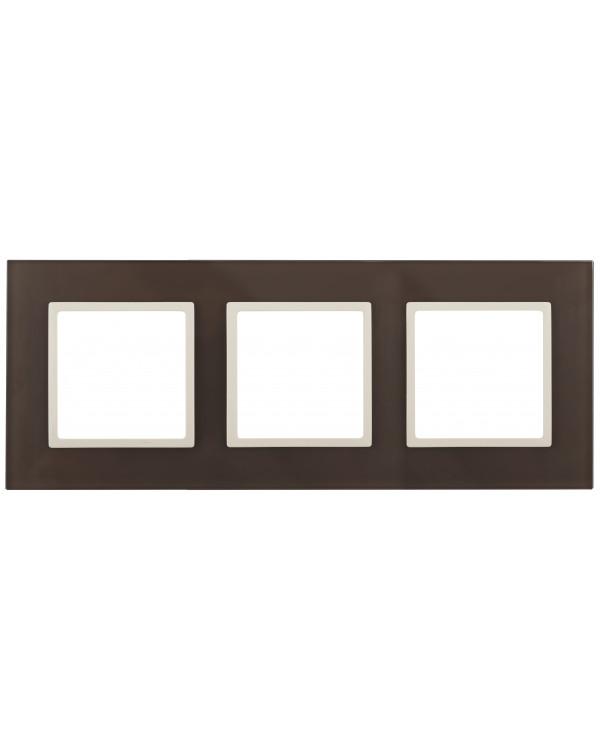 14-5103-31 ЭРА Рамка на 3 поста, стекло, Эра Elegance, мокко+сл.к (5/25/750)