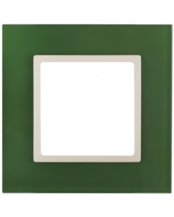 14-5101-27 ЭРА Рамка на 1 пост, стекло, Эра Elegance, зелёный+сл.кость (10/50/1800)