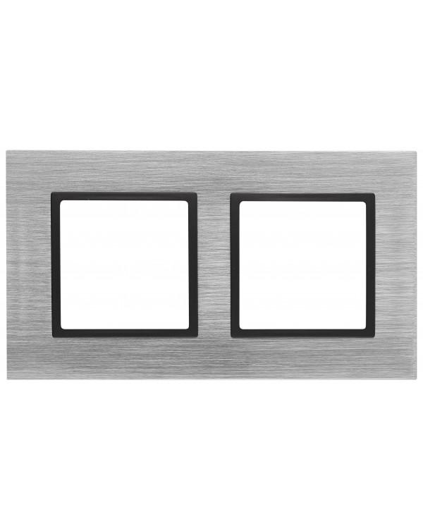14-5202-41 ЭРА Рамка на 2 поста, металл, Эра Elegance, сталь+антр (5/50/1200)