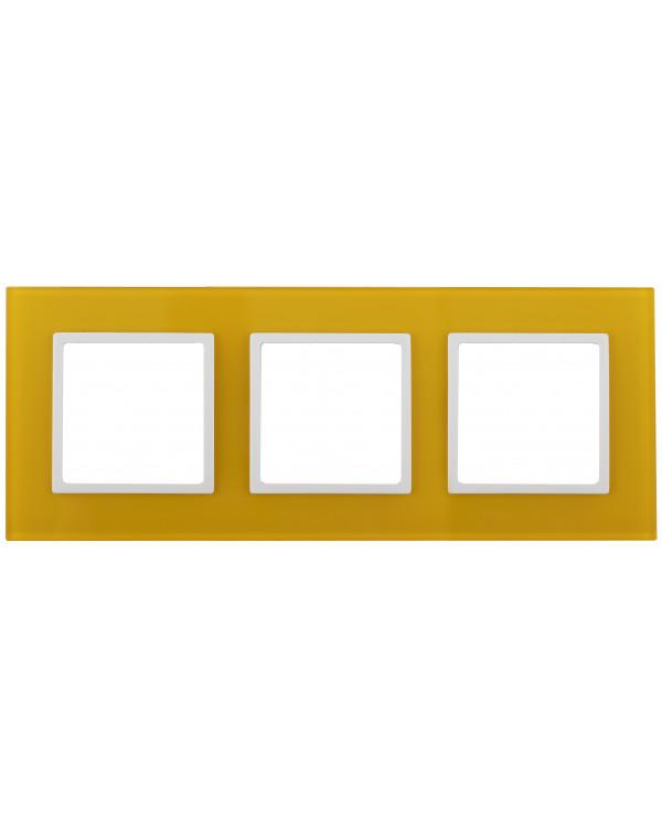 14-5103-21 ЭРА Рамка на 3 поста, стекло, Эра Elegance, жёлтый+бел (5/25/900)