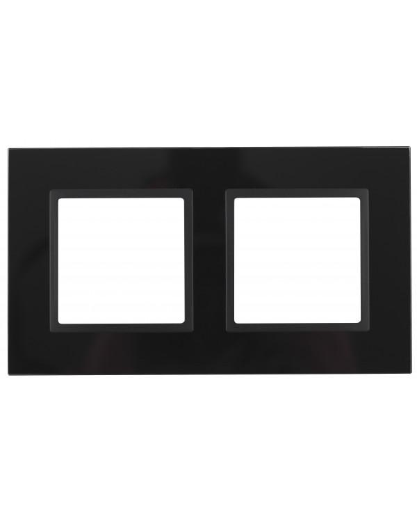 14-5102-05 ЭРА Рамка на 2 поста, стекло, Эра Elegance, чёрный+антр (5/50/1200)