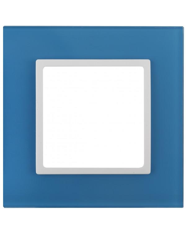 14-5101-28 ЭРА Рамка на 1 пост, стекло, Эра Elegance, голубой+бел (10/50/1800)
