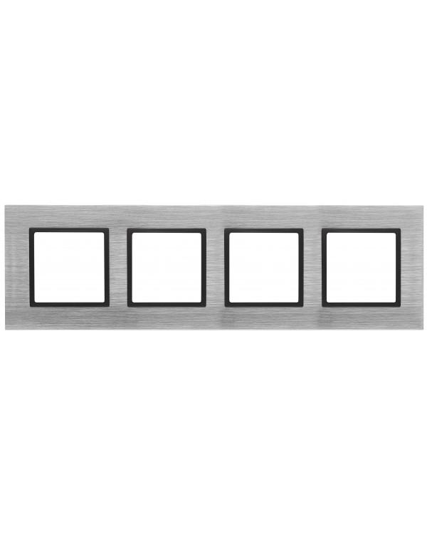 14-5204-41 ЭРА Рамка на 4 поста, металл, Эра Elegance, сталь+антр (5/25/900)