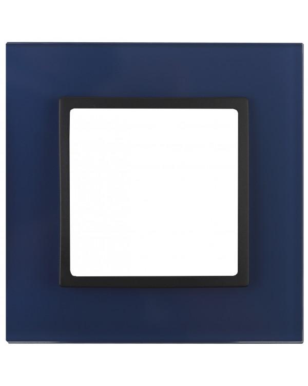 14-5101-29 ЭРА Рамка на 1 пост, стекло, Эра Elegance, синий+антр (10/50/1800)