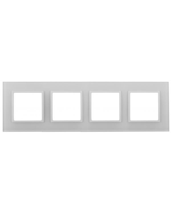 14-5104-01 ЭРА Рамка на 4 поста, стекло, Эра Elegance, белый+бел (5/25/900)