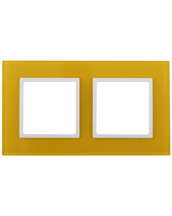 14-5102-21 ЭРА Рамка на 2 поста, стекло, Эра Elegance, жёлтый+бел (5/50/1200)