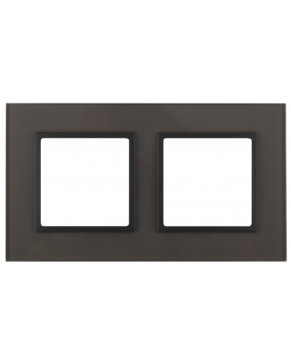 14-5102-32 ЭРА Рамка на 2 поста, стекло, Эра Elegance, серый+антр (5/50/1200)