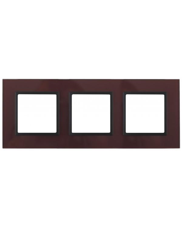 14-5103-25 ЭРА Рамка на 3 поста, стекло, Эра Elegance, бордо+антр (5/25/900)