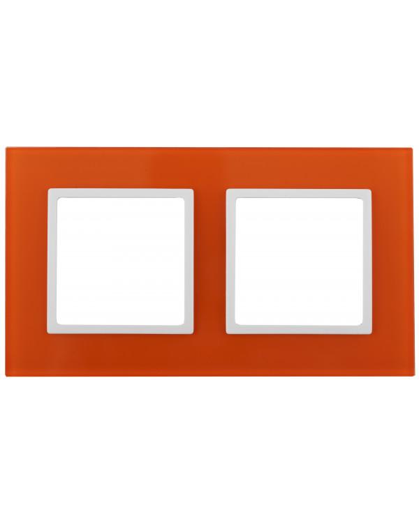 14-5102-22 ЭРА Рамка на 2 поста, стекло, Эра Elegance, оранжевый+бел (5/50/1200)