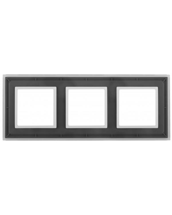 14-5103-00 ЭРА Рамка на 3 поста, стекло, Эра Elegance, прозрачный+бел (5/25/1400)