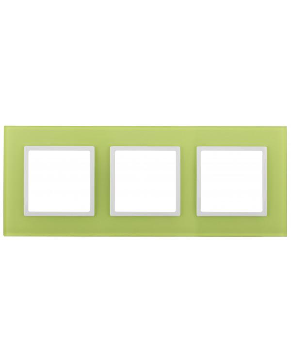 14-5103-26 ЭРА Рамка на 3 поста, стекло, Эра Elegance, лайм+бел (5/25/900)