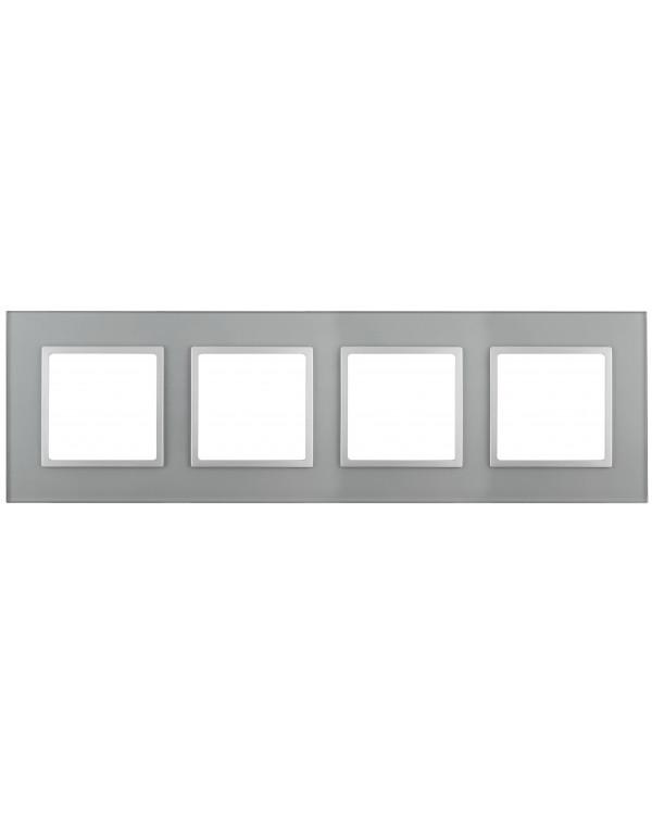 14-5104-03 ЭРА Рамка на 4 поста, стекло, Эра Elegance, алюминий+алюм (5/25/750)