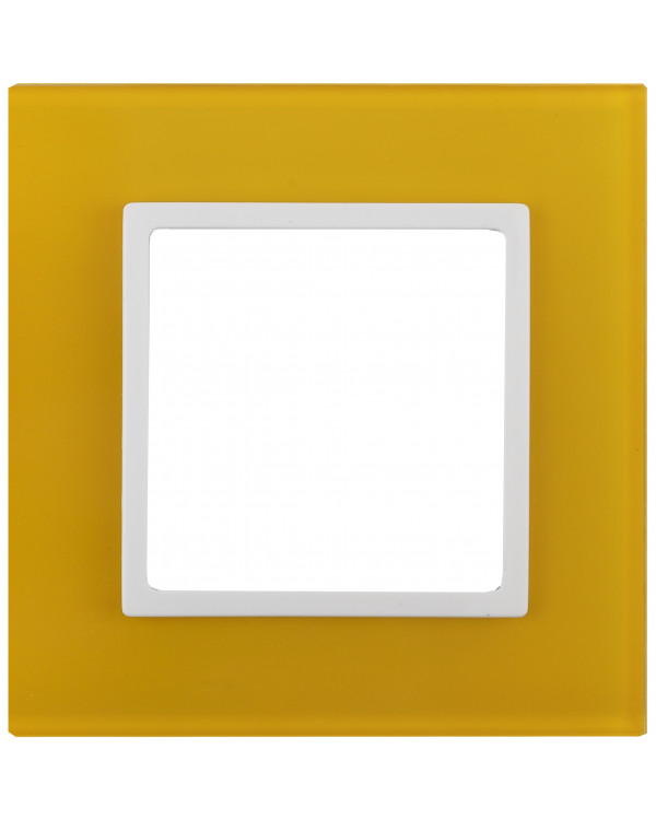 14-5101-21 ЭРА Рамка на 1 пост, стекло, Эра Elegance, жёлтый+бел (10/50/1800)