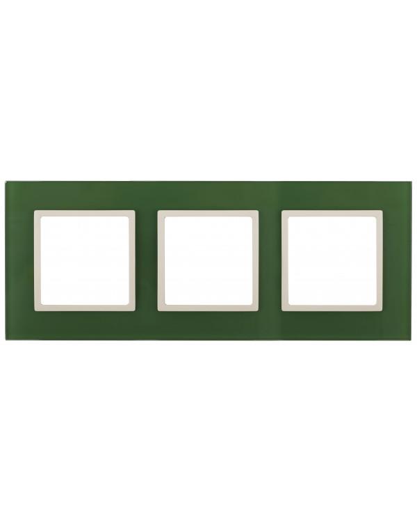 14-5103-27 ЭРА Рамка на 3 поста, стекло, Эра Elegance, зелёный+сл.кость (5/25/900)
