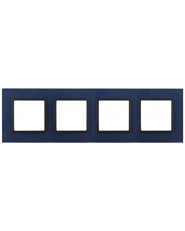 14-5104-29 ЭРА Рамка на 4 поста, стекло, Эра Elegance, синий+антр (5/25/900)