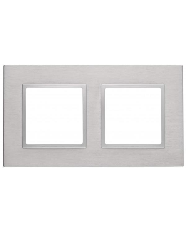 14-5202-03 ЭРА Рамка на 2 поста, металл, Эра Elegance, алюминий+алюм (5/50/1200)