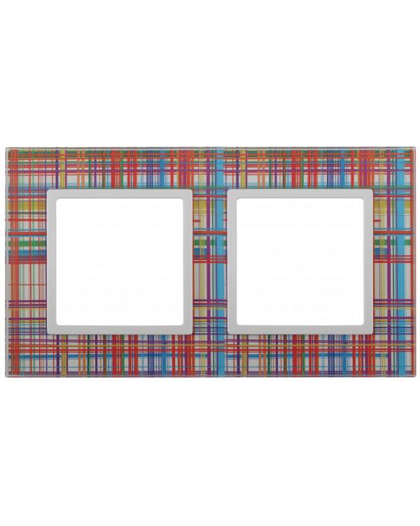 14-5102-00 ЭРА Рамка на 2 поста, стекло, Эра Elegance, прозрачный+бел (5/50/1200)