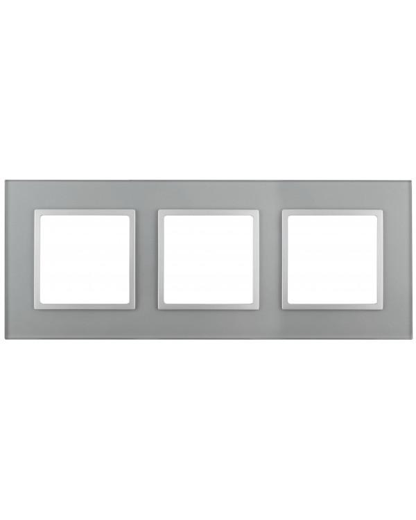 14-5103-03 ЭРА Рамка на 3 поста, стекло, Эра Elegance, алюминий+алюм (5/25/900)