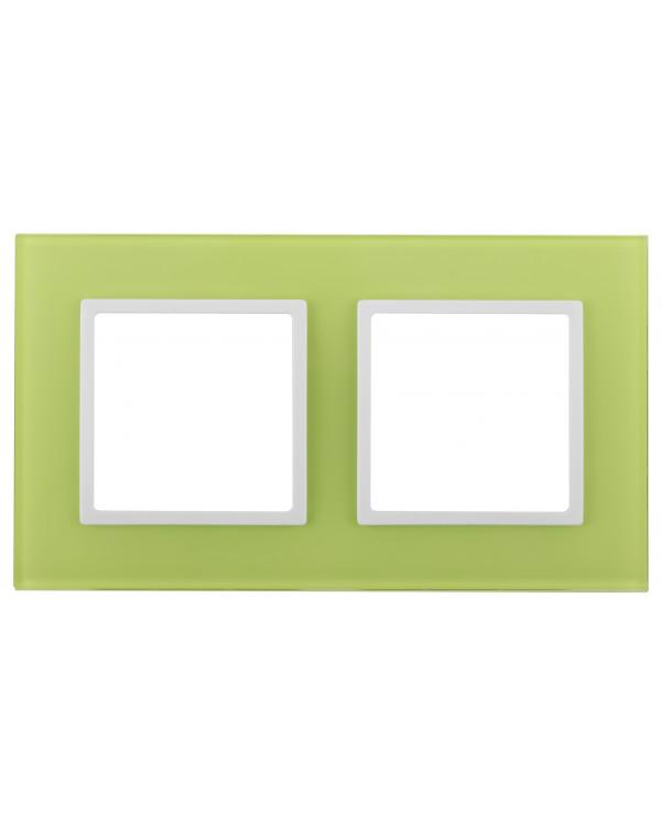 14-5102-26 ЭРА Рамка на 2 поста, стекло, Эра Elegance, лайм+бел (5/50/1200)