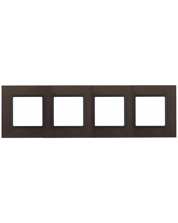 14-5104-13 ЭРА Рамка на 4 поста, стекло, Эра Elegance, бронза+антр (5/25/750)