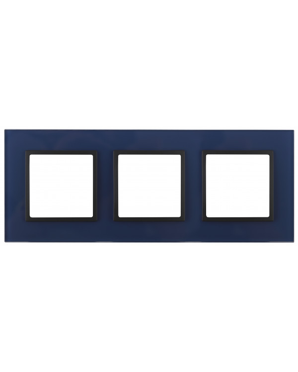 14-5103-29 ЭРА Рамка на 3 поста, стекло, Эра Elegance, синий+антр (5/25/900)