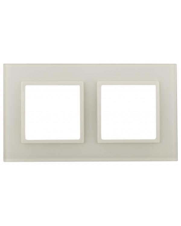 14-5102-02 ЭРА Рамка на 2 поста, стекло, Эра Elegance, сл.кость+сл.к (5/50/1200)