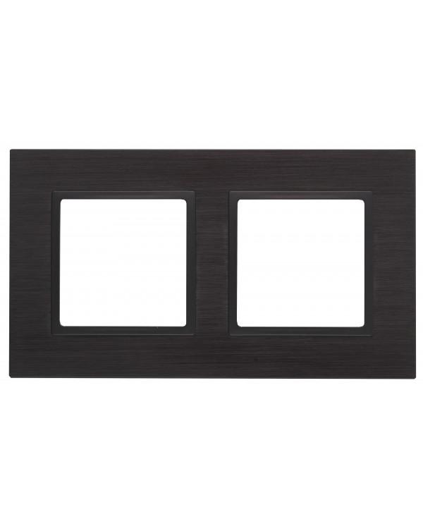 14-5202-05 ЭРА Рамка на 2 поста, металл, Эра Elegance, чёрный+антр (5/50/1200)