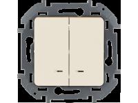 """Выключатель двухклавишный с подсветкой/индикацией Legrand Inspiria для скрытого монтажа, цвет """"Слоновая кость"""", номинальный ток 10 А, напряжение ~250В"""