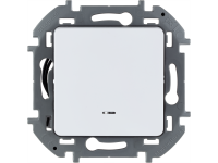 """Выключатель одноклавишный с подсветкой/индикацией Legrand Inspiria для скрытого монтажа, цвет """"Белый"""", номинальный ток 10 А, напряжение ~250 В"""