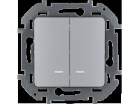 """Выключатель двухклавишный с подсветкой/индикацией Legrand Inspiria для скрытого монтажа, цвет """"Алюминий"""", номинальный ток 10 А, напряжение ~250В"""