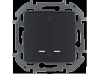 """Выключатель двухклавишный с подсветкой/индикацией Legrand Inspiria для скрытого монтажа, цвет """"Антрацит"""", номинальный ток 10 А, напряжение ~250В"""