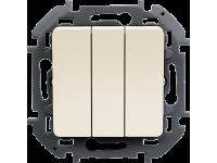 """Выключатель трехклавишный Legrand Inspiria для скрытого монтажа, цвет """"Слоновая кость"""", увеличенный номинальный ток 20 А, напряжение ~250В."""
