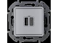 """Зарядное устройство Legrand Inspiria для скрытого монтажа , тип А-тип С, цвет """"Алюминий"""". Напряжение ~240В/=5В, максимальный зарядный ток 3000 мА"""