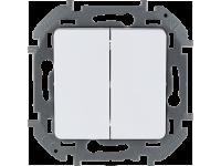"""Выключатель двухклавишный Legrand Inspiria для скрытого монтажа, цвет """"Белый"""", номинальный ток 10 А, напряжение ~250В."""