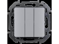 """Выключатель трехклавишный Legrand Inspiria для скрытого монтажа, цвет """"Алюминий"""", увеличенный номинальный ток 20 А, напряжение ~250В."""