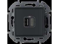 """Зарядное устройство Legrand Inspiria для скрытого монтажа , тип А-тип С, цвет """"Антрацит"""". Напряжение ~240В/=5В, максимальный зарядный ток 3000 мА"""