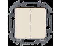 """Выключатель двухклавишный Legrand Inspiria для скрытого монтажа, цвет """"Слоновая кость"""", номинальный ток 10 А, напряжение ~250В."""