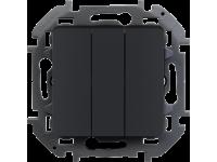 """Выключатель трехклавишный Legrand Inspiria для скрытого монтажа, цвет """"Антрацит"""", увеличенный номинальный ток 20 А, напряжение ~250В."""