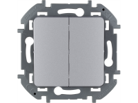 """Выключатель двухклавишный Legrand Inspiria для скрытого монтажа, цвет """"Алюминий"""", номинальный ток 10 А, напряжение ~250В."""