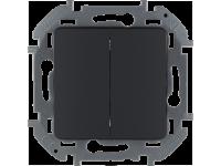 """Выключатель двухклавишный Legrand Inspiria для скрытого монтажа, цвет """"Антрацит"""", номинальный ток 10 А, напряжение ~250В."""