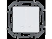 """Выключатель двухклавишный с подсветкой/индикацией Legrand Inspiria для скрытого монтажа, цвет """"Белый"""", номинальный ток 10 А, напряжение ~250В"""