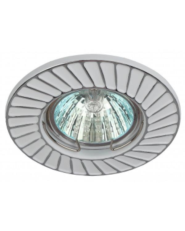 ST6 CH/WH Светильник ЭРА штампованный MR16,12V/220V, 50W белый/хром (100/2800), ST6 CH/WH