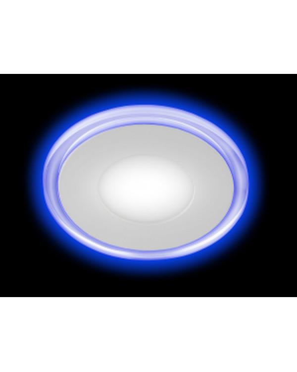 LED 3-6 BL Светильник ЭРА светодиодный круглый c cиней подсветкой LED 6W 220V 4000K (40/960), LED 3-6 BL