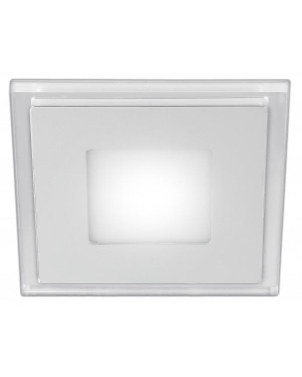 LED 4-6 BL Светильник ЭРА светодиодный квадратный c cиней подсветкой LED 6W 220V 4000K (40/960), LED 4-6 BL