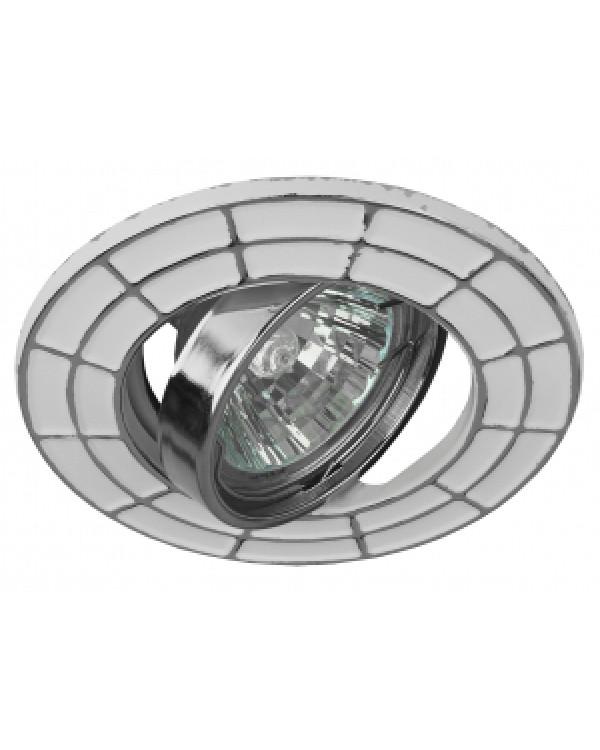 ST7A CH/WH Светильник ЭРА штампованный поворотный MR16,12V/220V, 50W белый/хром (100/2100), Б0036491